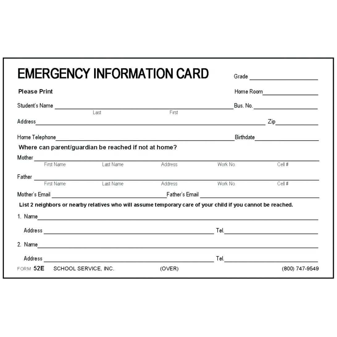 Employee Emergency Contact List Template – Heartwork Inside Emergency Contact Card Template
