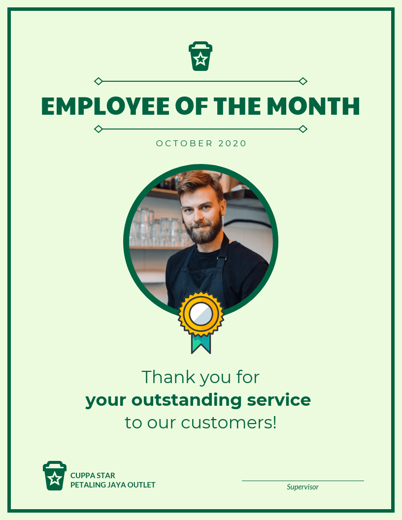 Employee Of The Month Certificate Template In Employee Of The Month Certificate Template With Picture