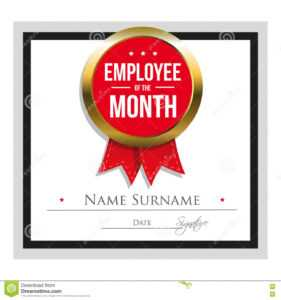 Employee Of The Month Certificate Template Stock Vector with Employee Of The Month Certificate Template With Picture