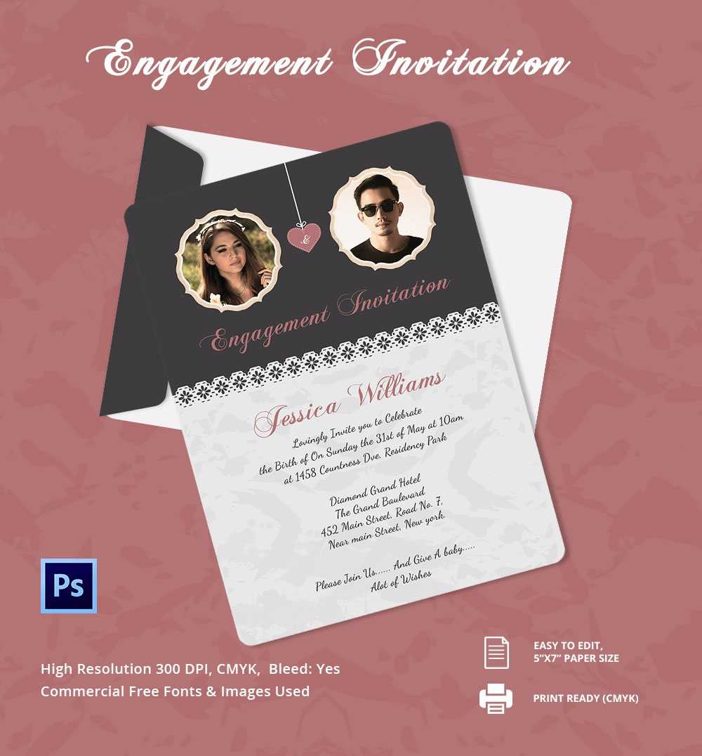 Engagement Invitation Cards Templates - Party Invitation With Regard To Engagement Invitation Card Template