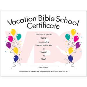 Essential Church Certificates – Children's Edition inside Free Vbs Certificate Templates