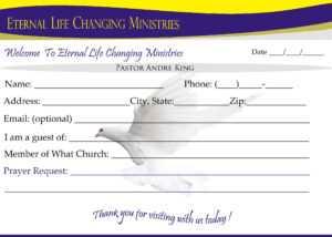 Eternal Life Visitor Card-B | Creative Kingdom Designs regarding Church Visitor Card Template