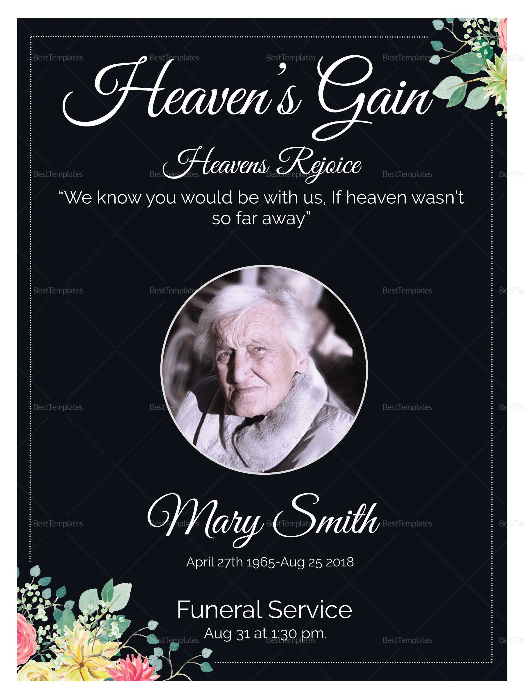 Eulogy Funeral Invitation Card Template For Funeral Invitation Card Template