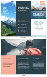 Europe Tourism Travel Tri Fold Brochure Template regarding Travel Brochure Template For Students