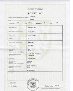 Example Of A Czech Birth Certificate – Czech English Translation throughout Birth Certificate Template Uk