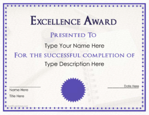 Excellence Award Certificate | Templates At in Award Of Excellence Certificate Template