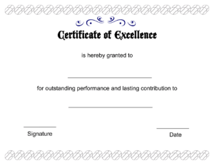 Excellent Certificate Of Excellence Template Designed with regard to Award Of Excellence Certificate Template