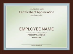 Excellent Employee Certificate Of Appreciation Template throughout Employee Recognition Certificates Templates Free