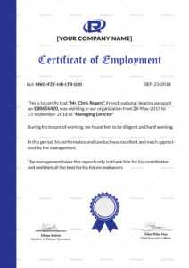 Excellent Employment Certificate Template intended for Sample Certificate Employment Template