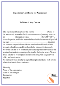 Experience Certificate For Accountant-01 | Best Letter Template with regard to Certificate Of Experience Template