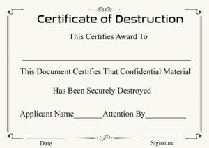 🥰5+ Free Certificate Of Destruction Sample Templates🥰 inside Certificate Of Destruction Template