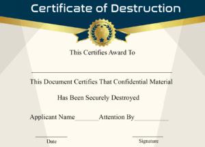🥰5+ Free Certificate Of Destruction Sample Templates🥰 pertaining to Free Certificate Of Destruction Template