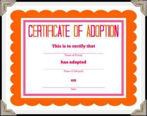 🥰free Printable Sample Certificate Of Adoption Template🥰 throughout Child Adoption Certificate Template