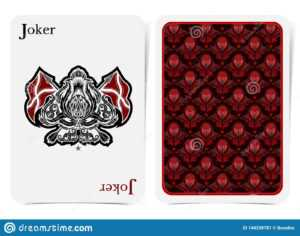 Face Of Joker Card Thistle Plant Pattern With Crossed Flags in Joker Card Template