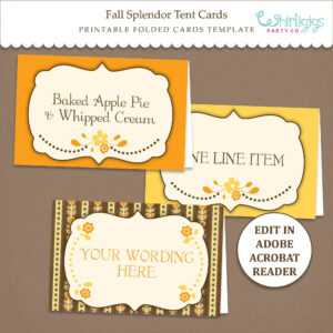 Fall Tent Card Template – Thanksgiving Placecards – Editable – Printable –  Pdf File – Fall Splendor – for Thanksgiving Place Card Templates
