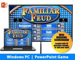 Family Feud Instant Download Party Game Windows Template throughout Family Feud Powerpoint Template Free Download