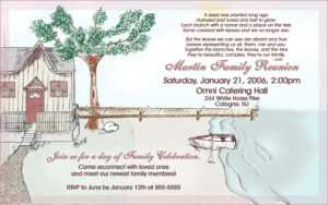 Family Reunion Invitation Samples | Marseillevitrollesrugby intended for Reunion Invitation Card Templates