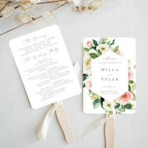 Fan Wedding Program Printable Template, Blush Floral And Greenery Order Of  Service For Boho Wedding, Milla within Michaels Place Card Template