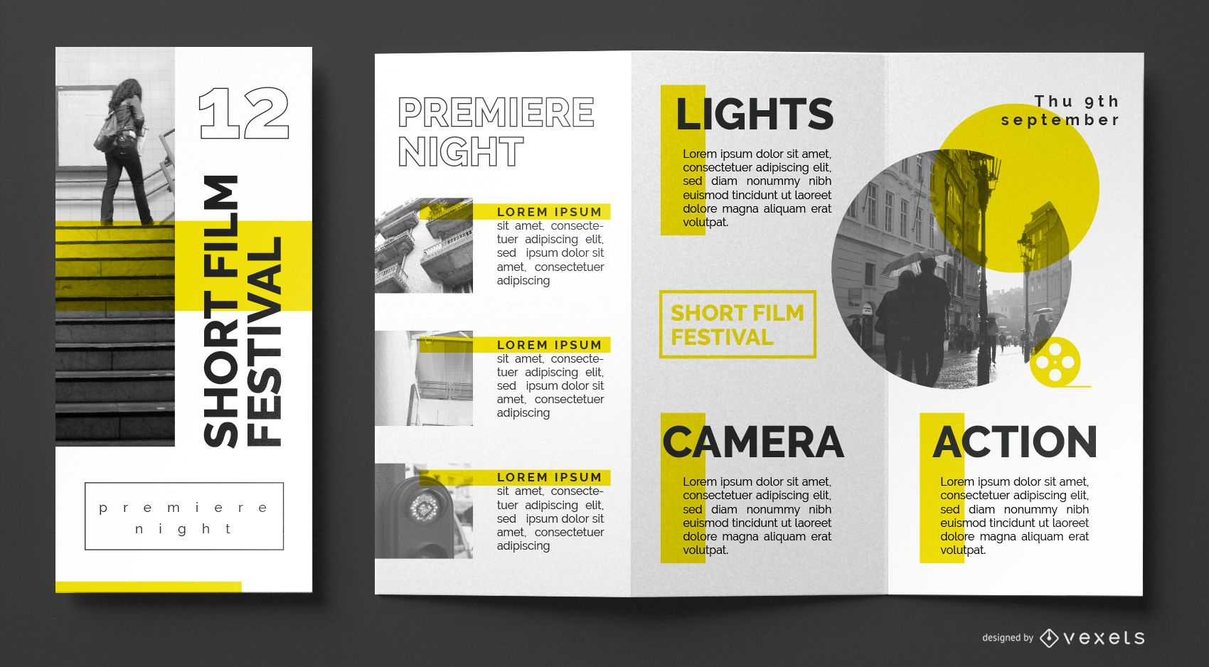 Film Festival Brochure Template - Vector Download Throughout Film Festival Brochure Template