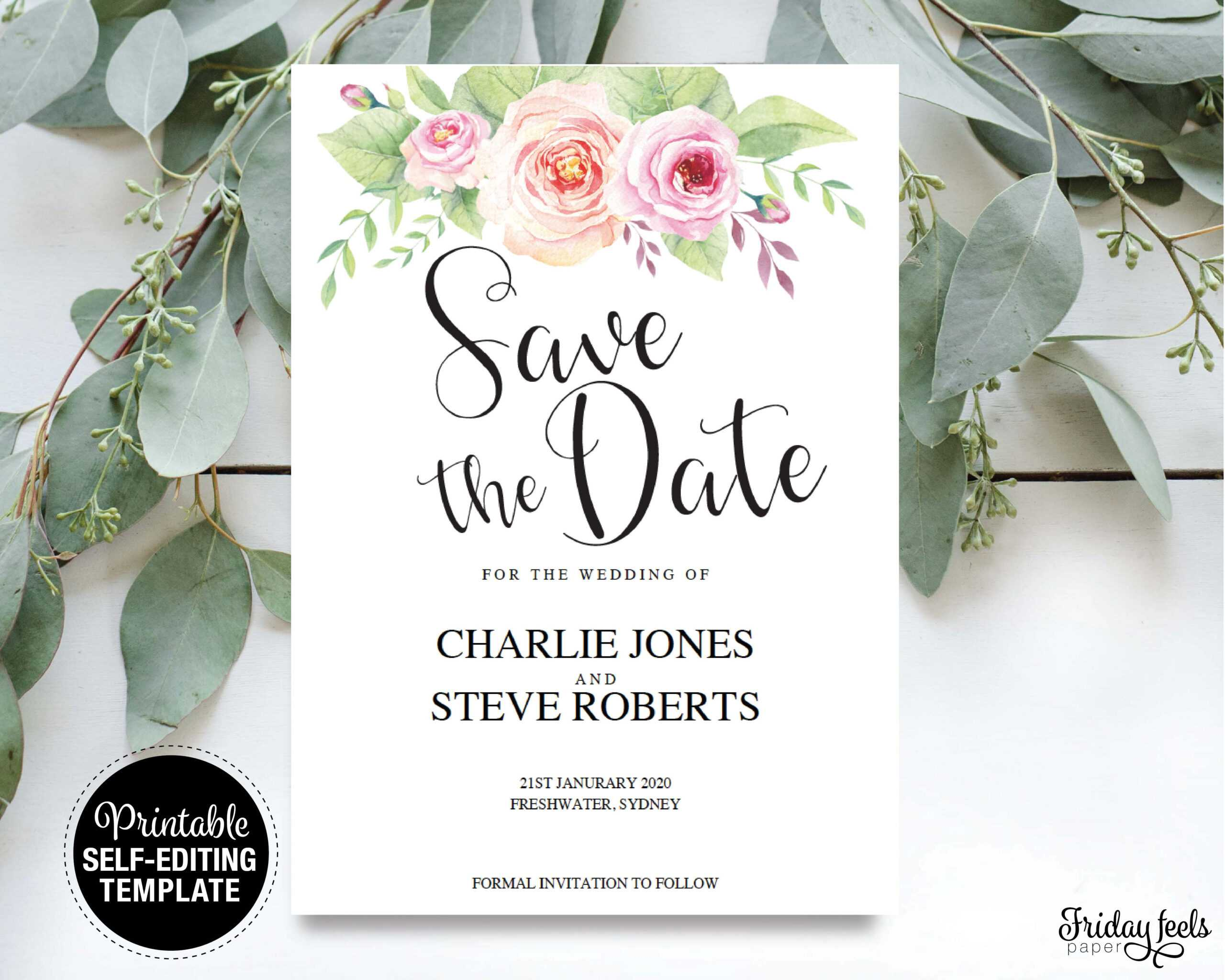 Floral Save The Date Card Throughout Save The Date Cards Templates