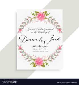 Floral Wedding Invitation Card Elegant Template throughout Invitation Cards Templates For Marriage