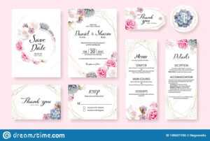 Floral Wedding Invitation Card, Save The Date, Thank You pertaining to Table Reservation Card Template