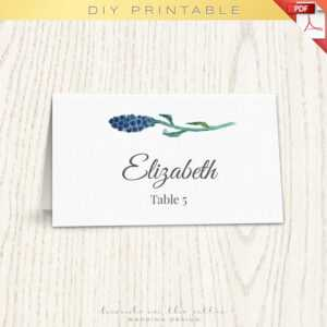 Floral Wedding Placecard Template, Printable Escort Cards inside Table Name Card Template