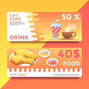 Food And Drink Gift Card Voucher Templates Vector – Download pertaining to Movie Gift Certificate Template