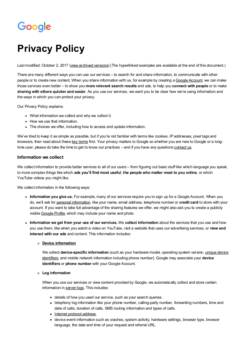 Free 18+ Privacy Policy Examples In Pdf   Google Docs With Regard To Credit Card Privacy Policy Template