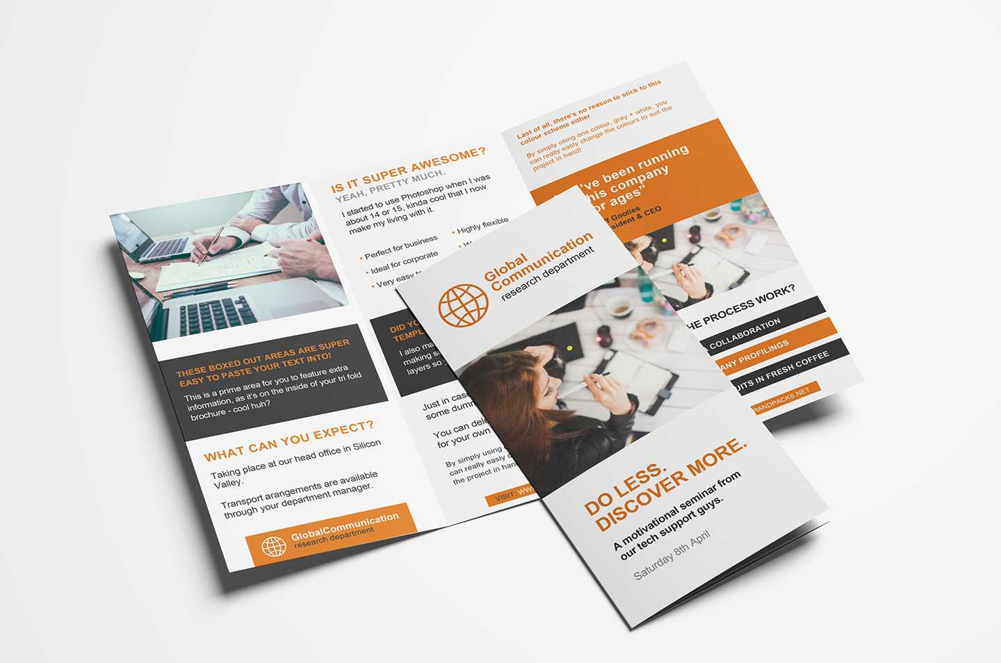 Free 3 Fold Brochure Template For Photoshop & Illustrator For One Sided Brochure Template