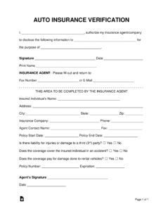 Free Auto Insurance Verification Letter – Pdf | Word intended for Proof Of Insurance Card Template