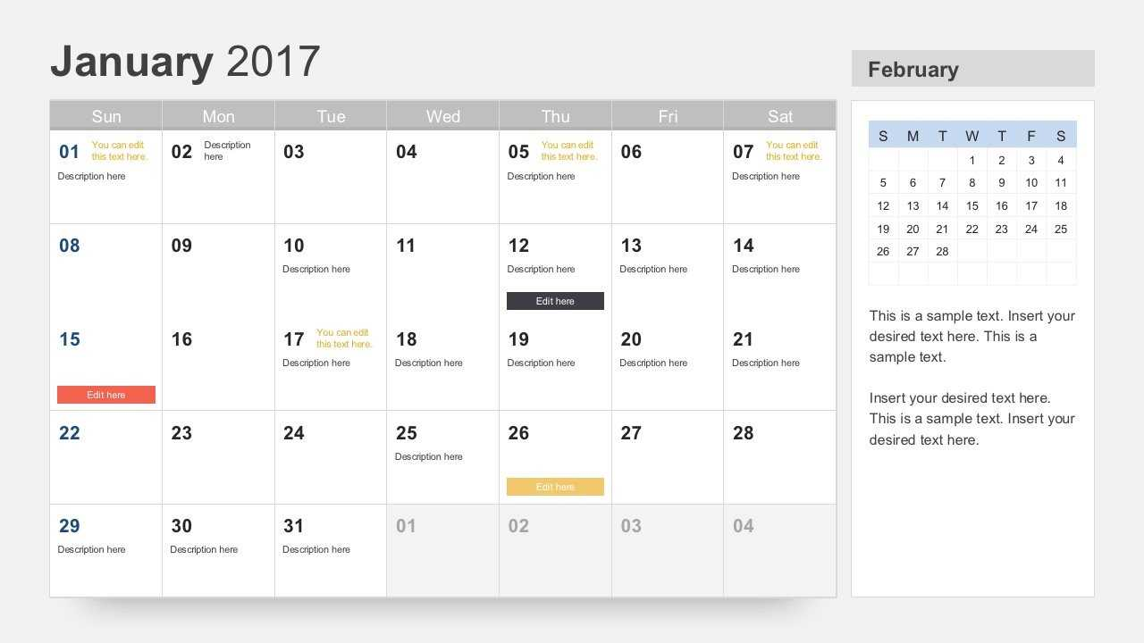 Free Calendar 2017 Template For Powerpoint Throughout Microsoft Powerpoint Calendar Template