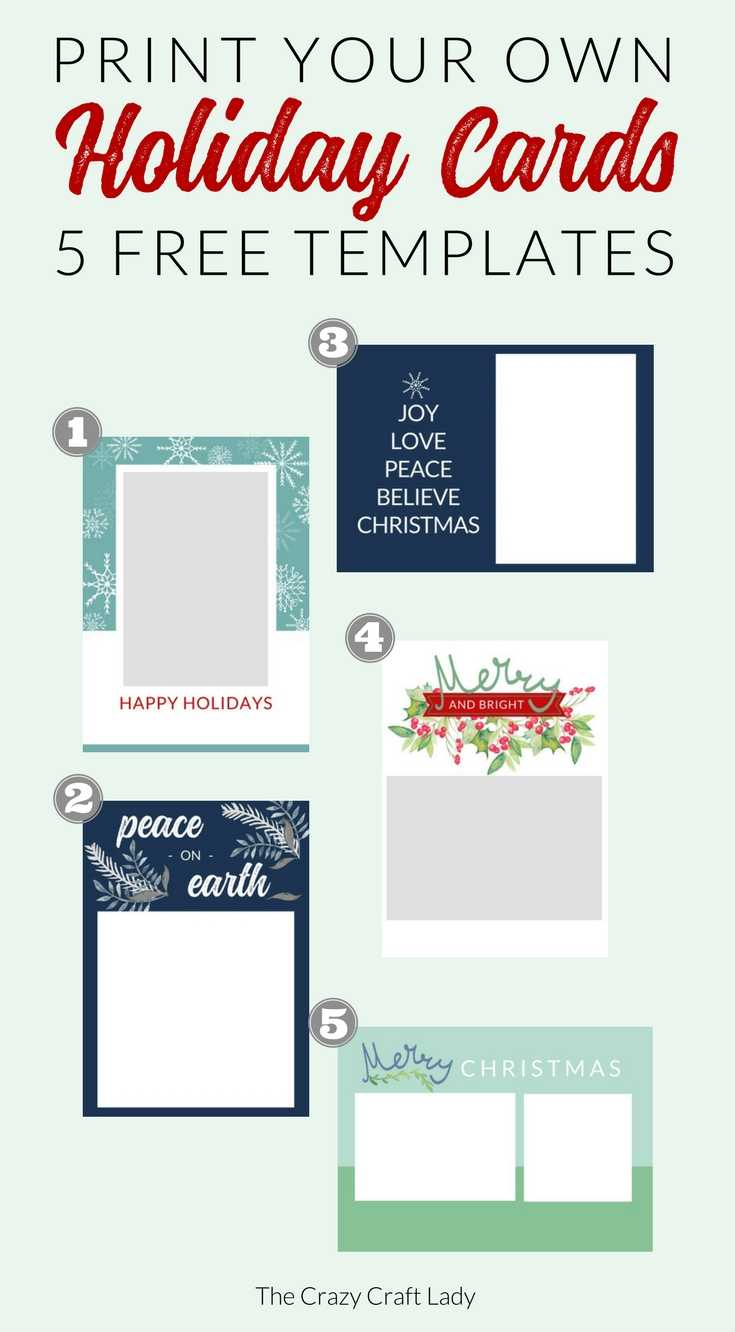 Free Christmas Card Templates - The Crazy Craft Lady Throughout Printable Holiday Card Templates
