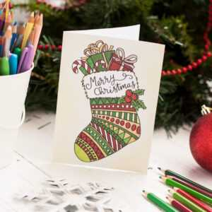 Free Christmas Coloring Card for Diy Christmas Card Templates