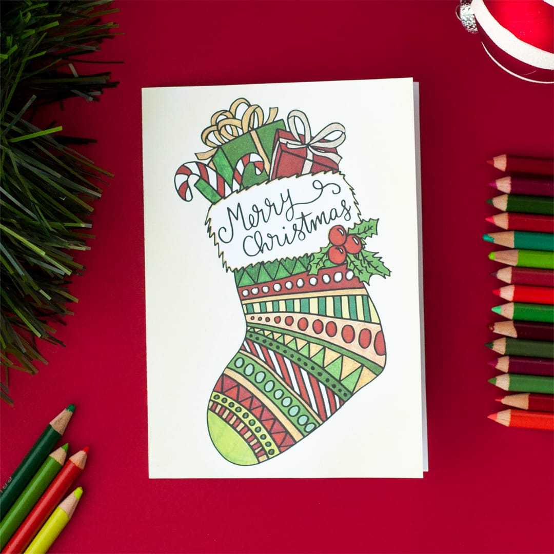 Free Christmas Coloring Card Within Diy Christmas Card Templates