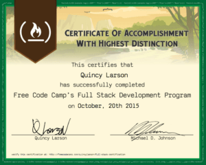 Free Code Camp Full Stack Development Certification in Boot Camp Certificate Template