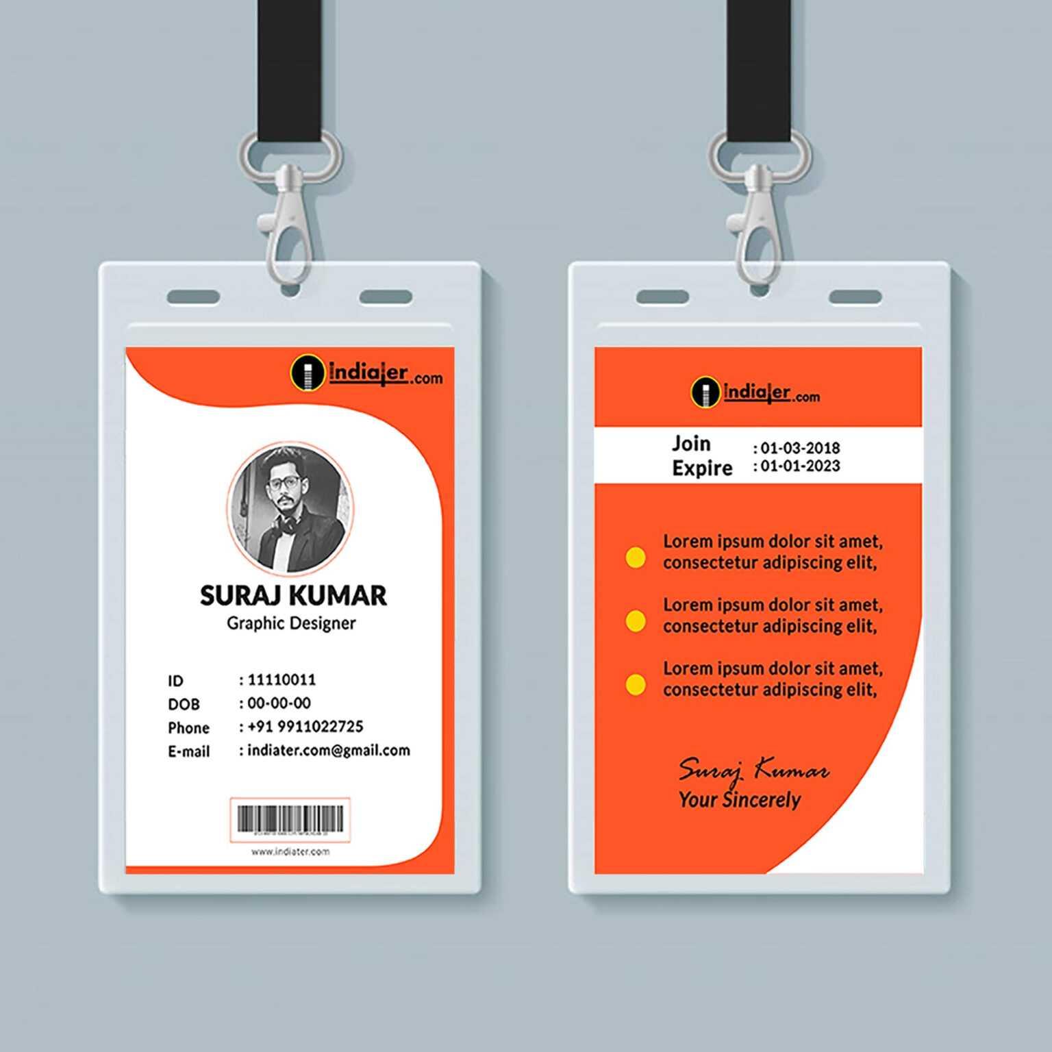 free creative identity card design template psd  indiater