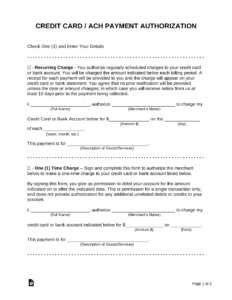 Free Credit Card (Ach) Authorization Forms – Pdf | Word for Authorization To Charge Credit Card Template
