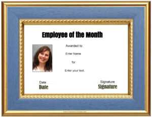 Free Custom Employee Of The Month Certificate with regard to Employee Of The Month Certificate Template