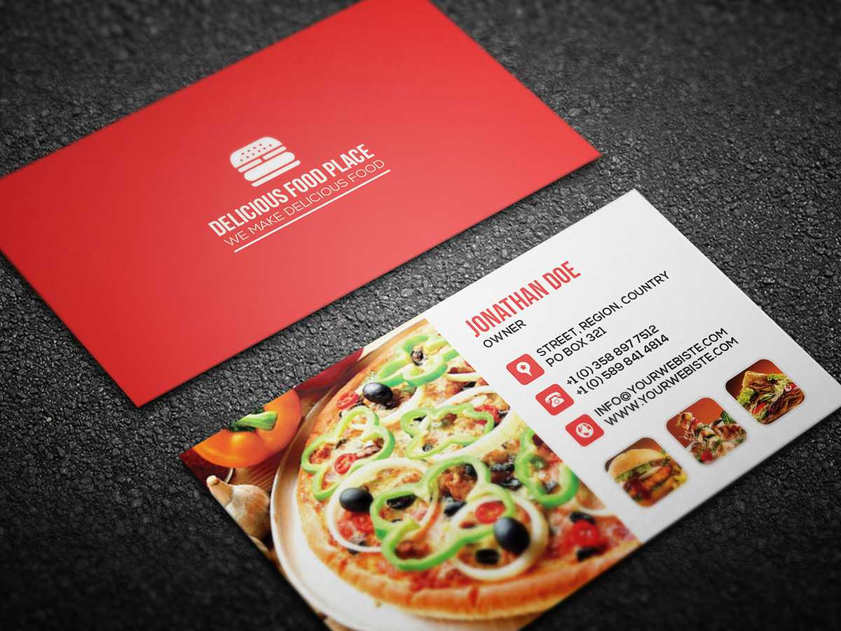 Free Delicious Food Business Card On Behance Within Food Business Cards Templates Free