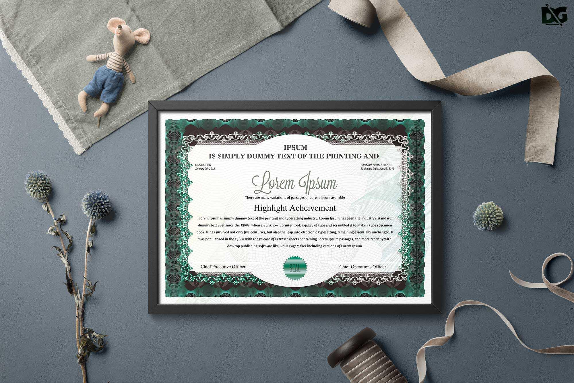 Free Download Achievement Psd Certificate Template | Free Within Mock Certificate Template
