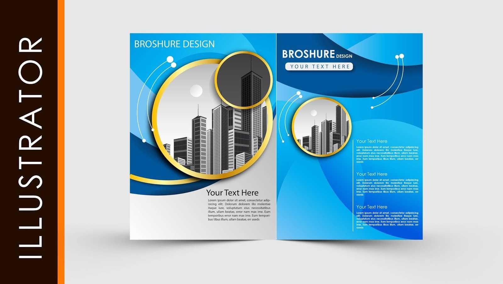 Free Download Adobe Illustrator Template Brochure Two Fold Regarding Illustrator Brochure Templates Free Download