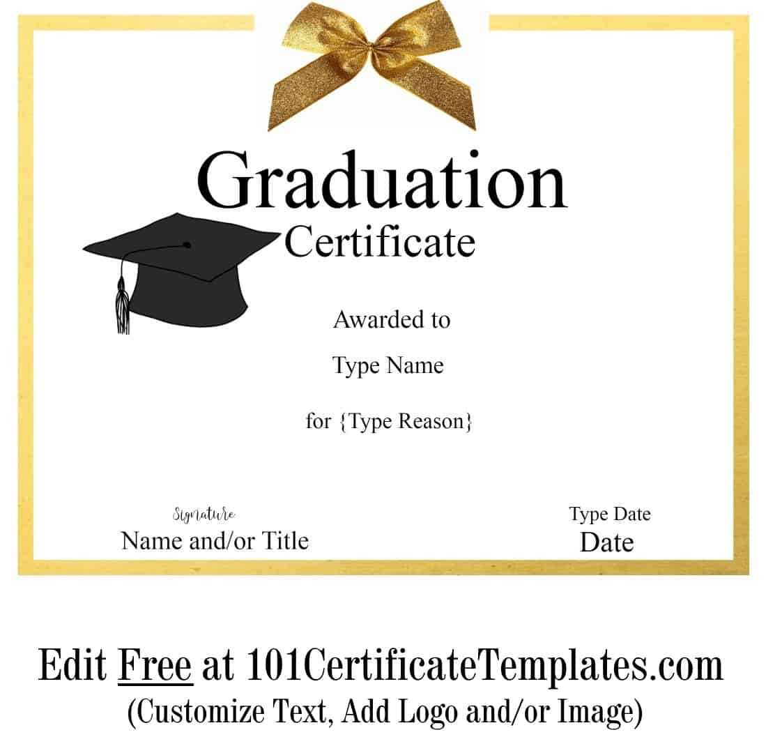 Free Graduation Certificate Template | Customize Online & Print In Free Printable Graduation Certificate Templates