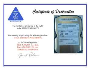Free Hard Drive Wiping Services (Hdd Destruction) with regard to Hard Drive Destruction Certificate Template