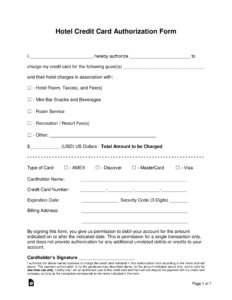 Free Hotel Credit Card Authorization Forms – Word | Pdf throughout Credit Card Authorisation Form Template Australia