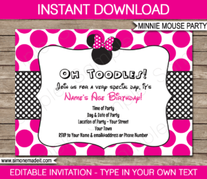 Free Minnie Mouse Birthday Invitations – Tomope.zaribanks.co with regard to Minnie Mouse Card Templates