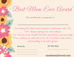 Free Mother's Day Printable Certificate Awards For Mom And in Best Teacher Certificate Templates Free