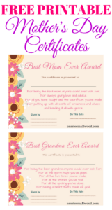 Free Mother's Day Printable Certificate Awards For Mom And throughout Love Certificate Templates