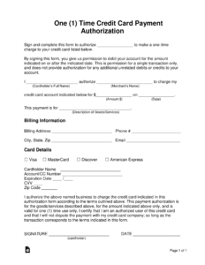 Free One (1) Time Credit Card Payment Authorization Form in Credit Card Billing Authorization Form Template