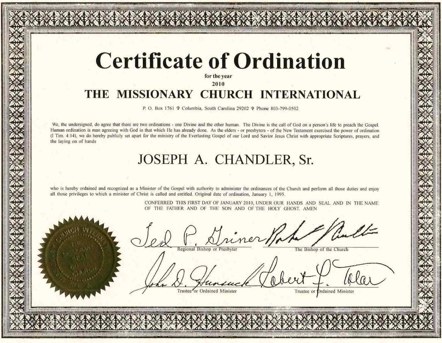 Free Ordination Certificate Template - Great Professional Regarding Ordination Certificate Template